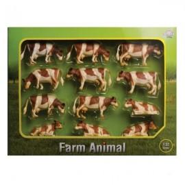 Krowy czerwone zestaw 12 sztuk