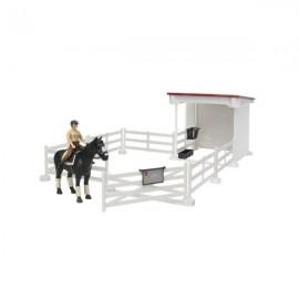 Zagroda dla konia, koń, jeździec