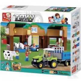 Zestaw klocków- obora z traktorkiem